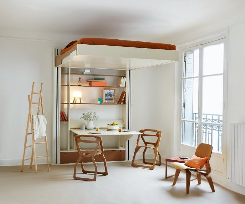 I'm in Europe right now, and I came across this interesting piece of  furniture – mobile bed. A clever hybrid between a murphy bed and a loft bed,  ... - Bed — Shoebox Dwelling Finding Comfort, Style And Dignity In