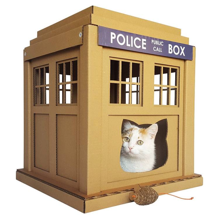 tardis cat houses shoebox dwelling finding comfort style and dignity in small spaces. Black Bedroom Furniture Sets. Home Design Ideas
